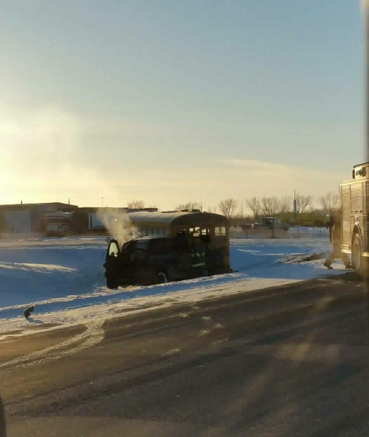 School Bus, Pickup Truck Involved in a Crash East of Yorkton