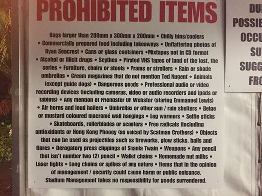 Here's the Brilliantly Bizarre List of Items Banned From a Recent Foo Fighters Gig