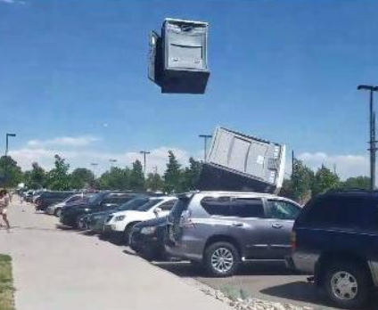 Strong Wind Sends Portable Toilets Flying Through the Air [VIDEO]