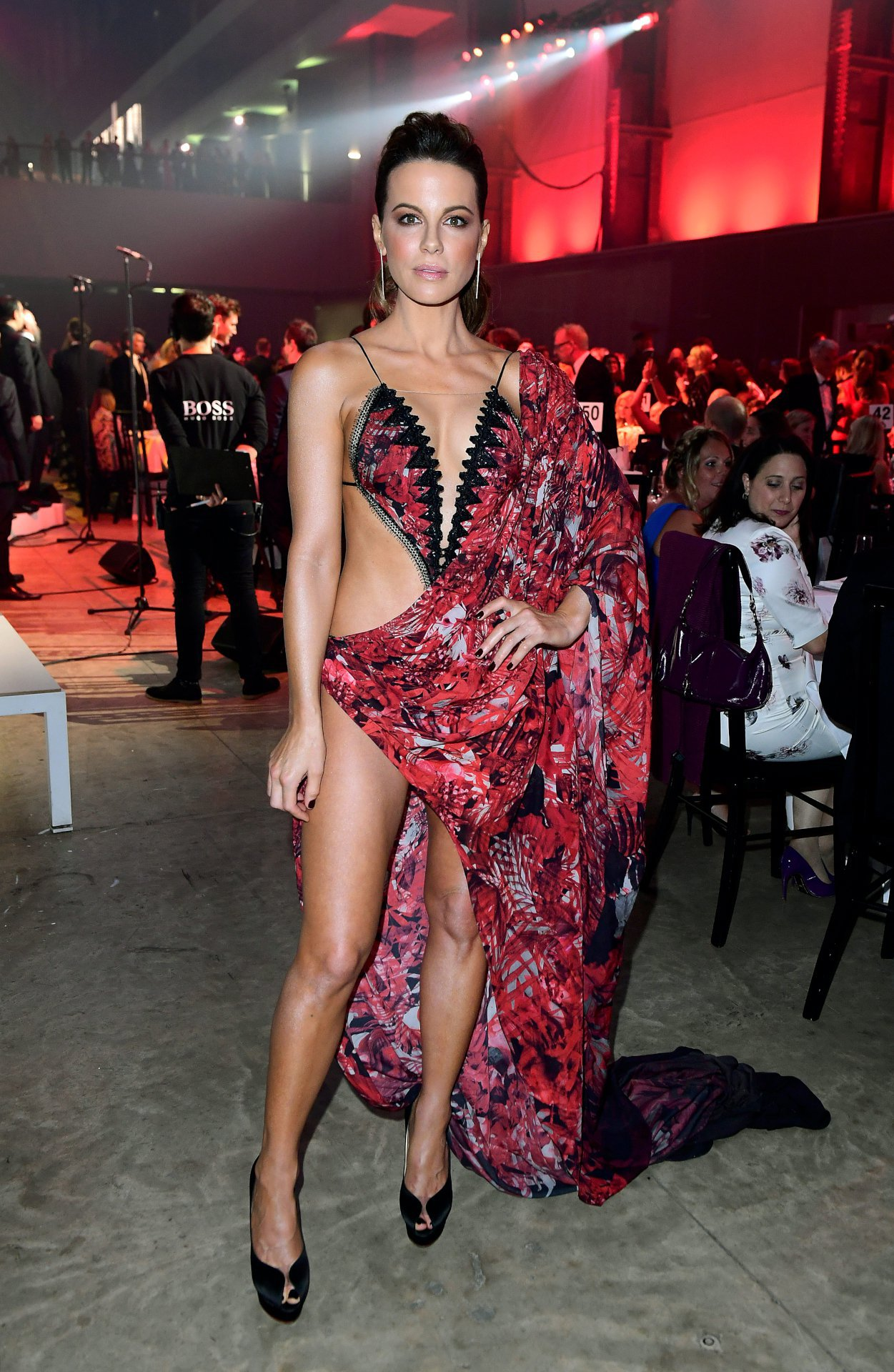 Kate Beckinsale Leaves Nothing to the Imagination in Revealing Cut-Out Red Dress [SFW PICS]