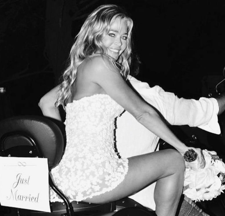 Denise Richards Gets Leggy in Her Racy Wedding Dress Posing on a Motorcycle