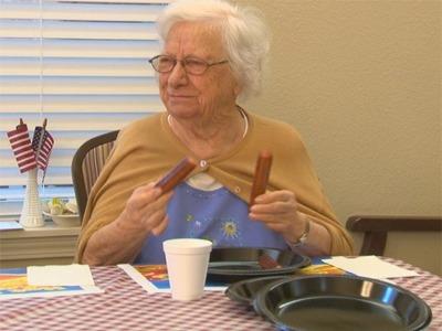 Retirement Community Hosts Hot Dog Eating Contest