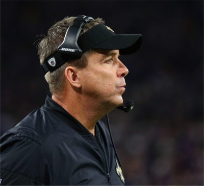 Oops! Saints Coach Sean Payton Got Caught Sunday With His Arms Up