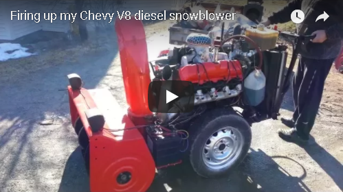 Look (And Listen) To This Diesel V8 Snowblower!
