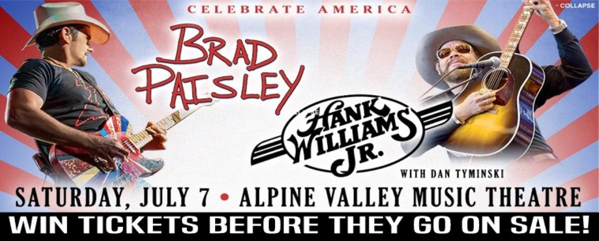 Brad Paisley & Hank Williams Jr To Play Alpine Valley