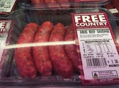 There Was A Major Oops! On A Package Of Sausage From Australia