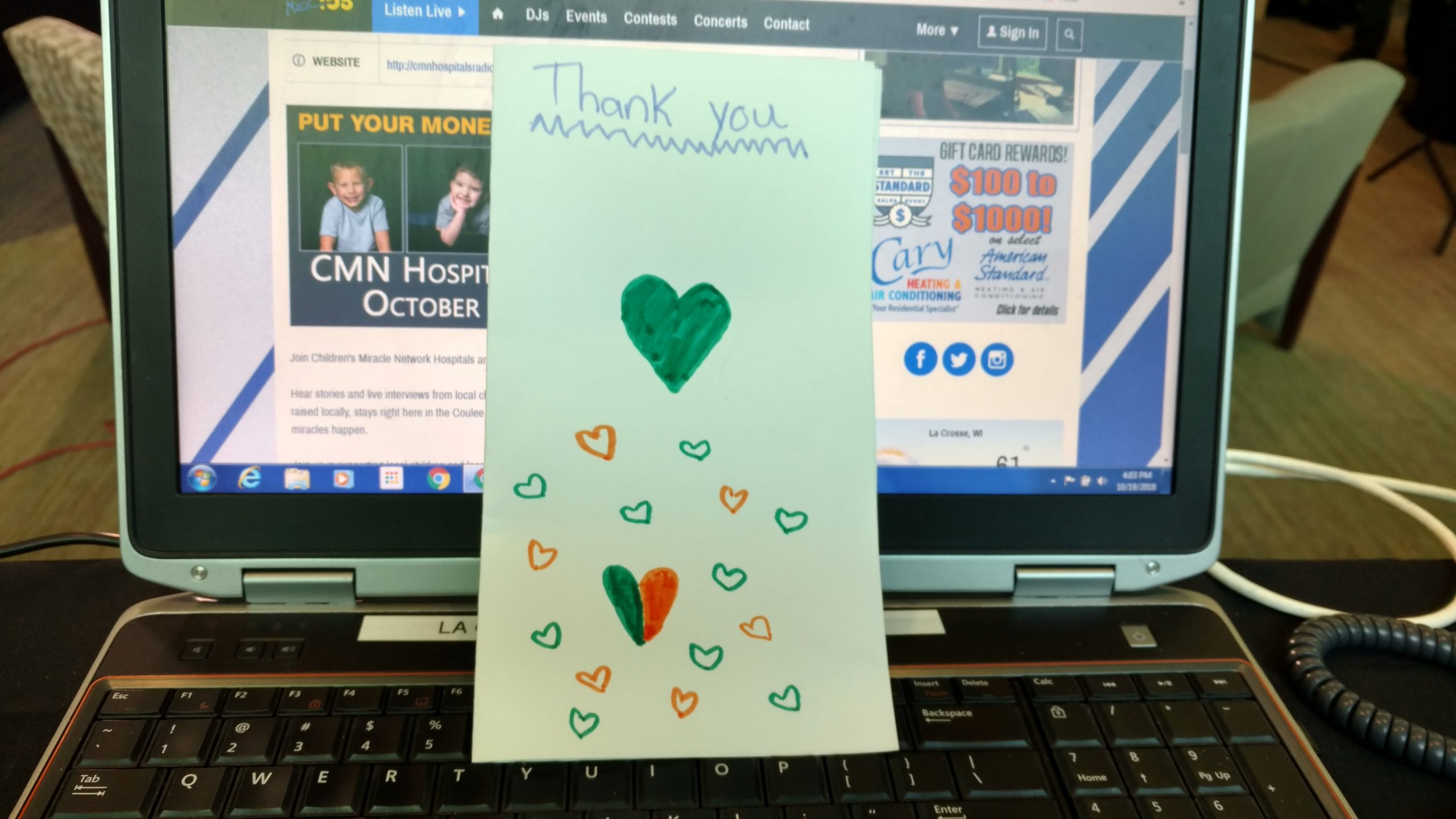 A Personal Thank You Card On Radiothon Day 2