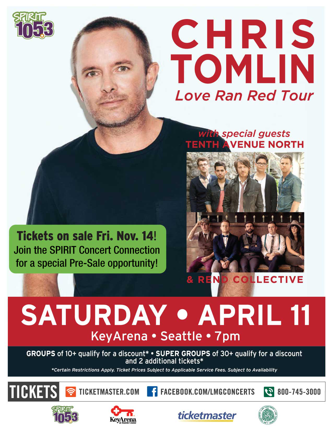 Chris Tomlin's 'Love Ran Red' Tour, featuring Tenth Avenue North and Rend Collective Stops in Seattle!