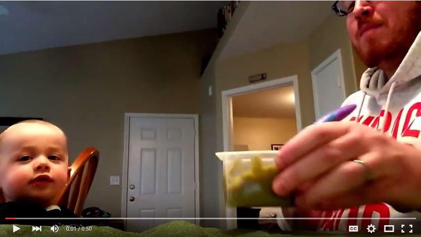 Dad Helps Kid Eat Beans by Singing