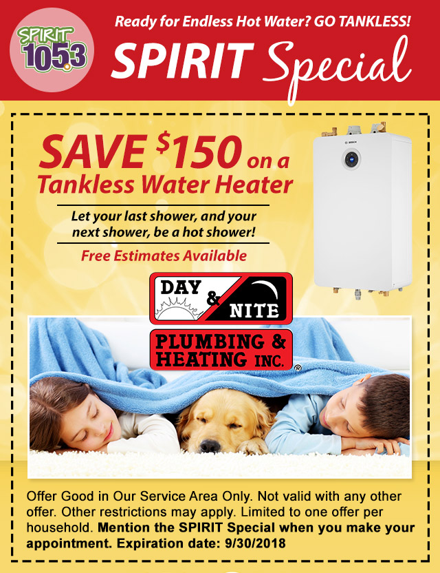 SPIRIT Special: Save $150 on a Tankless Water Heater
