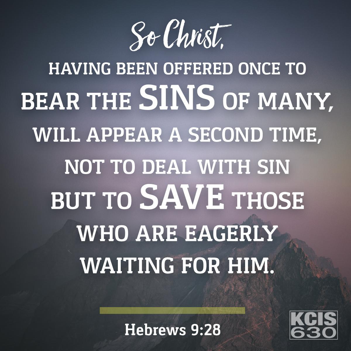 Hebrews 9:28 - Daily Verse