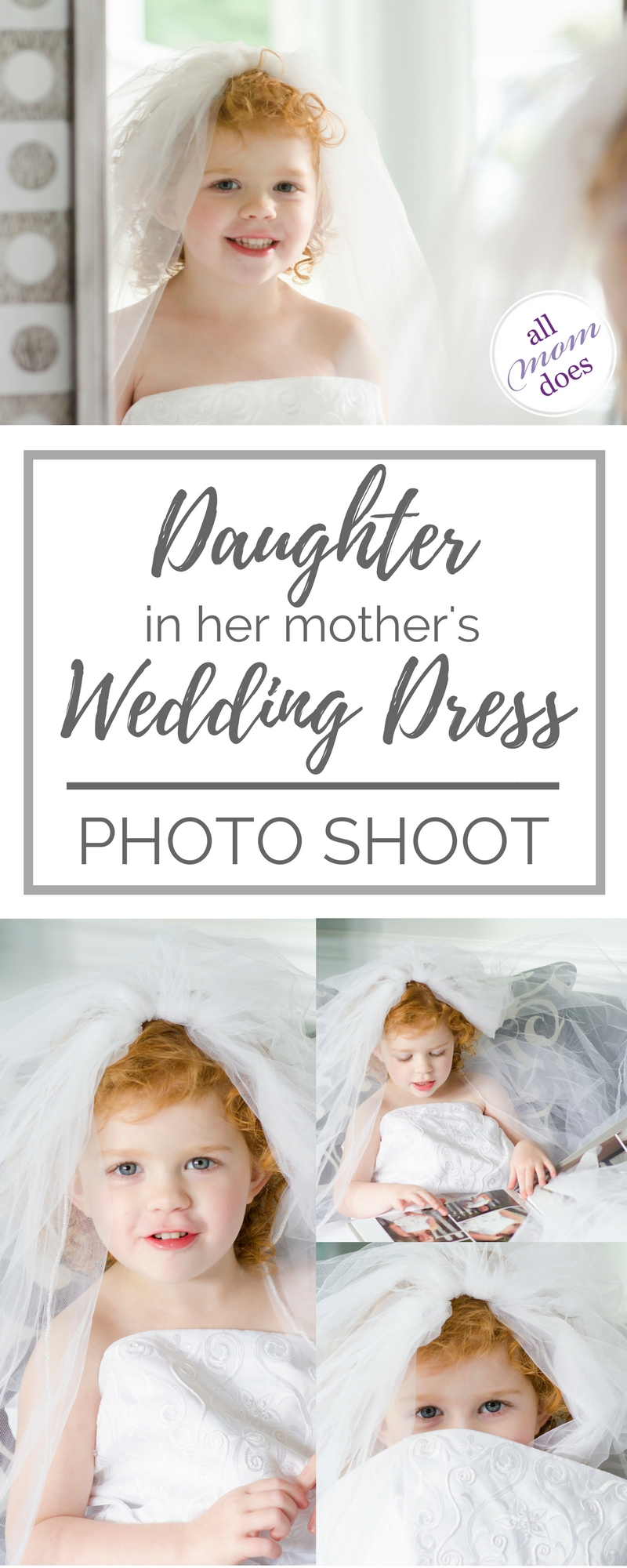 Little girl in her mother's wedding dress - do a wedding dress photo shoot with your daughter! So sweet! #weddingdress #mamasgirl #daughter