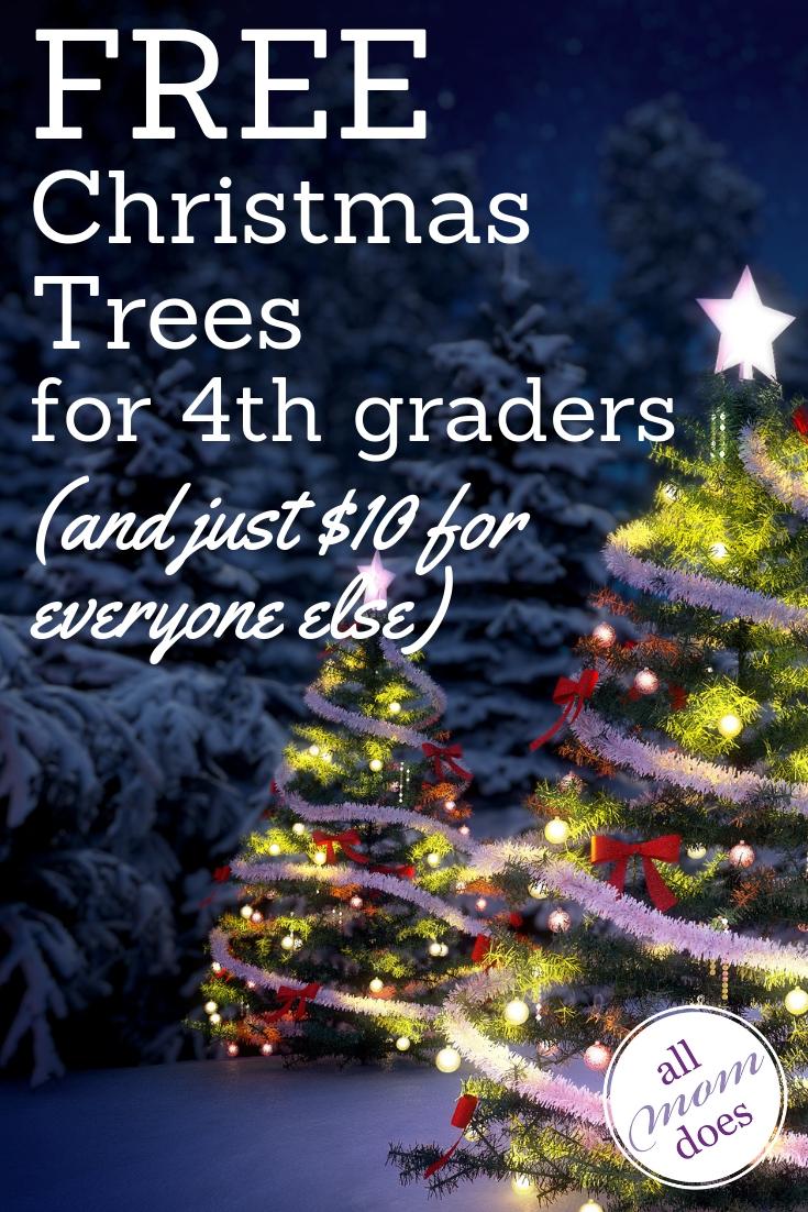Free and cheap u-cut Christmas trees for fourth graders! #christmas #everykidinapark