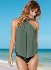 5508e472d High Neck Tankini + Swim Shorts: High-necked halters are totally in right  now. This gorgeous option is flattering, flowing, and can be paired with  boy ...