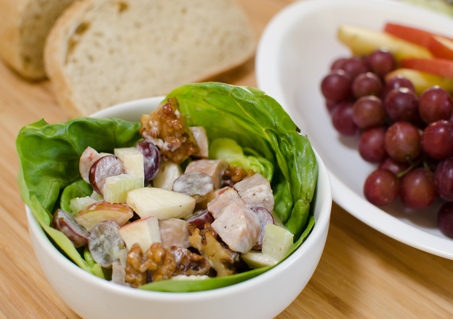 Simple Chicken Waldorf Salad with Candied Walnuts