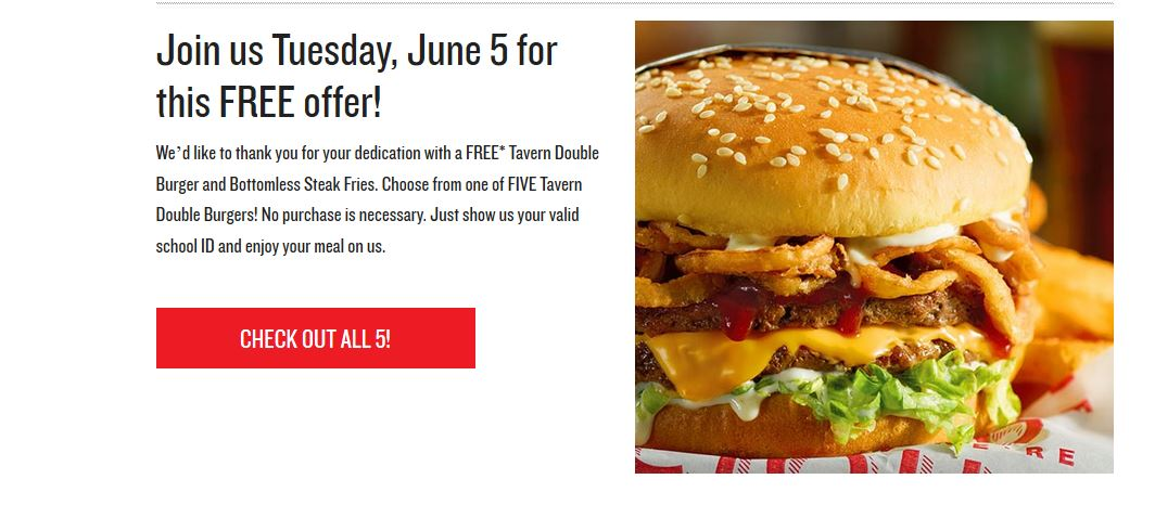 Free Burgers for Teachers on 6/5