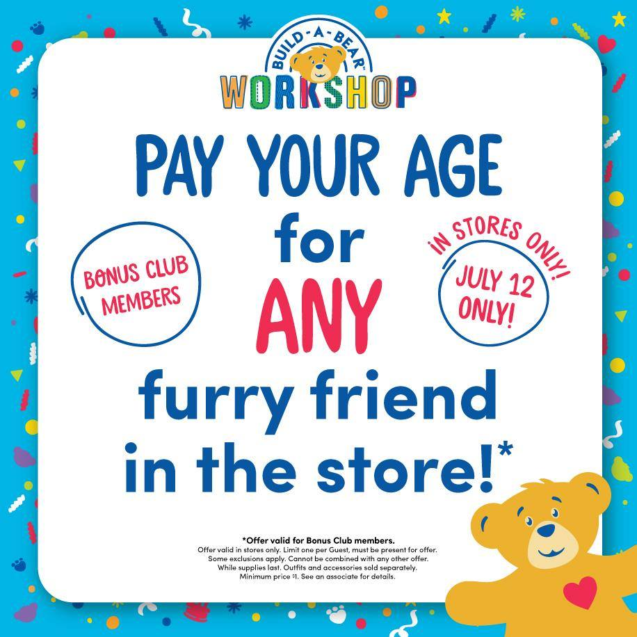 BUILD-A-BEAR Pay Your Age Special Offer July 12