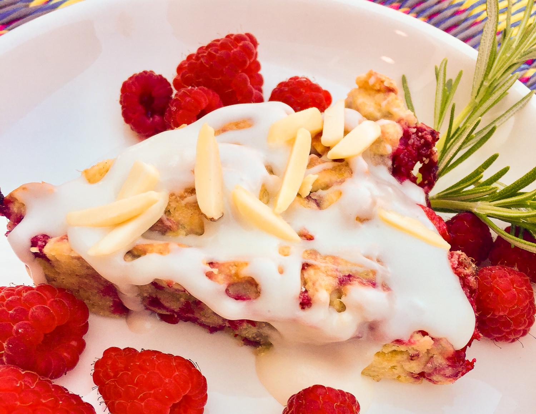 Glazed Raspberry Almond Scones