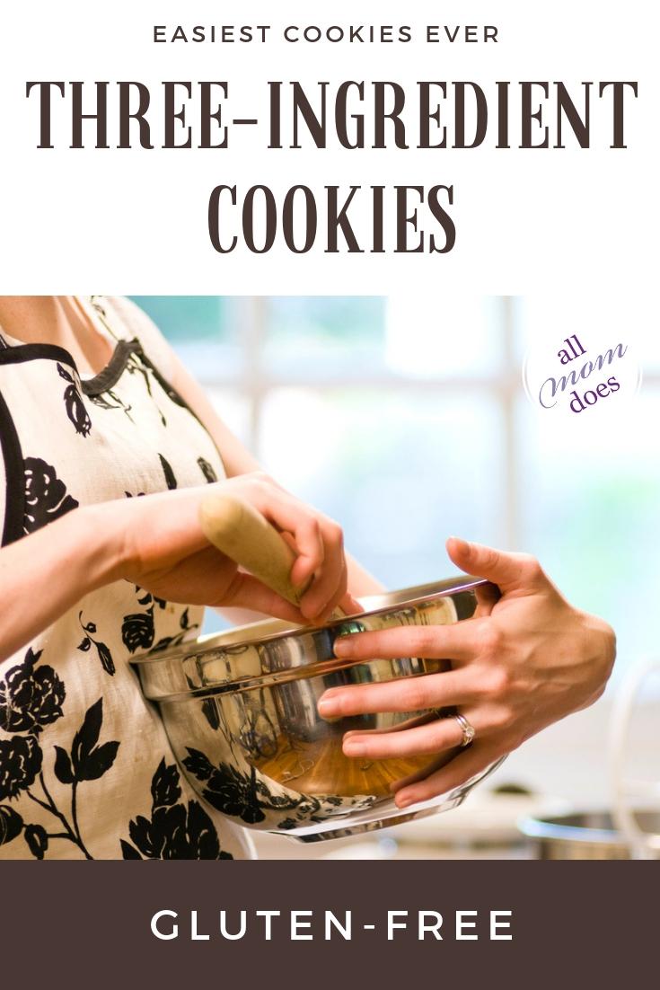 Easy gluten free cookies with three simple ingredients. #cookierecipe #glutenfree