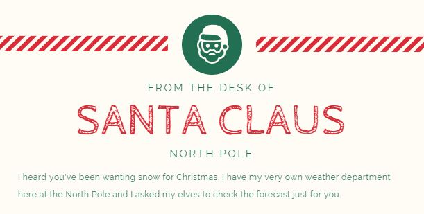 Letter from Santa to the Child Wishing for a White Christmas (Printable)