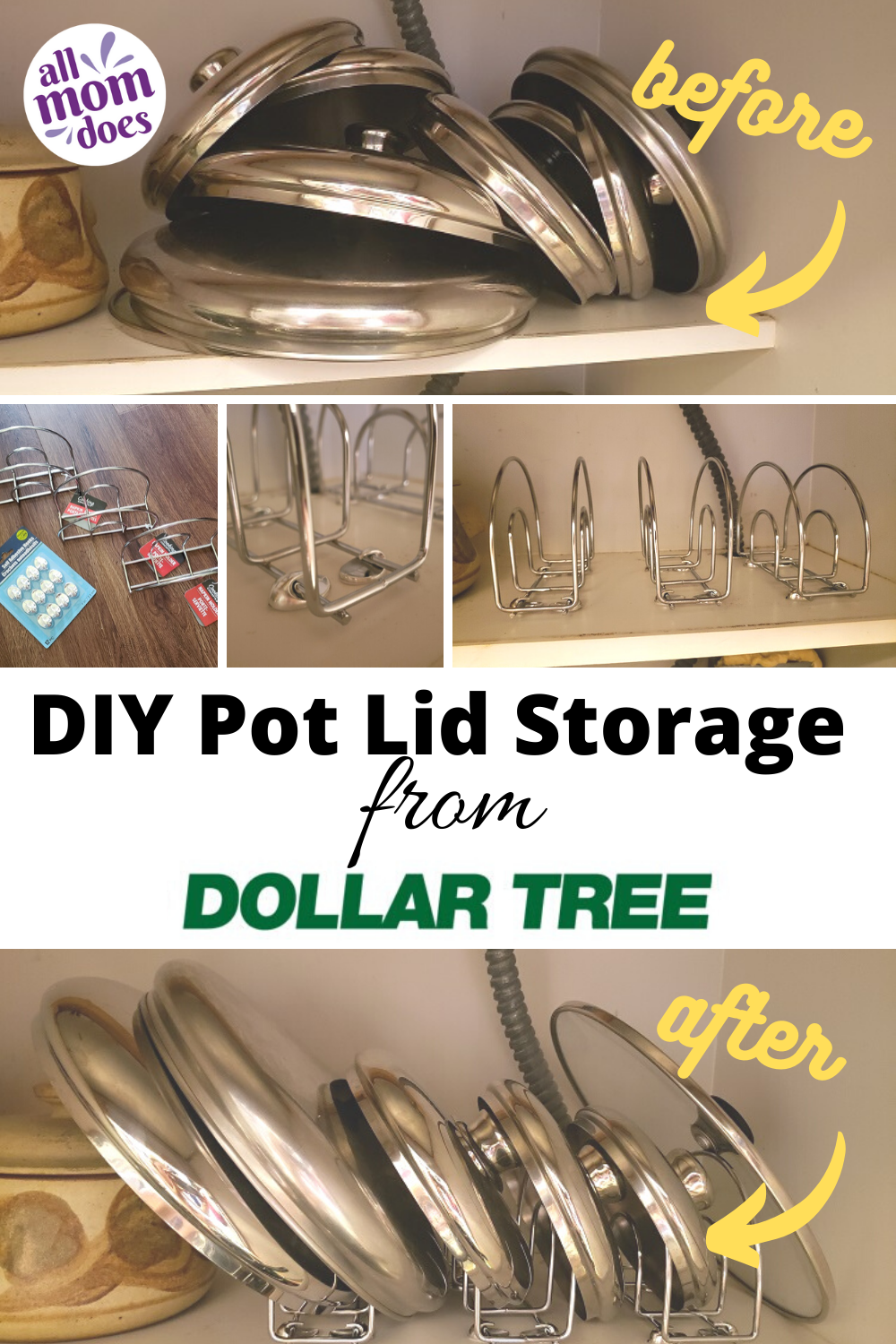 Diy Inexpensive Pot Lid Storage From Dollar Tree Allmomdoes