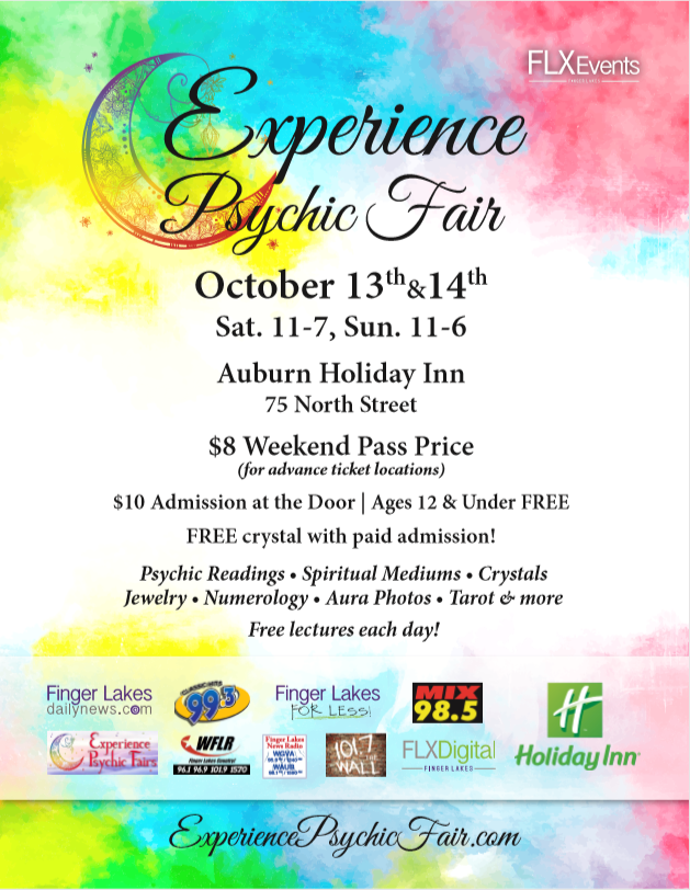 experience psychic fair and flx events and the stations of the finger lakes radio groupare very excited to bring the most amazing metaphysical event to