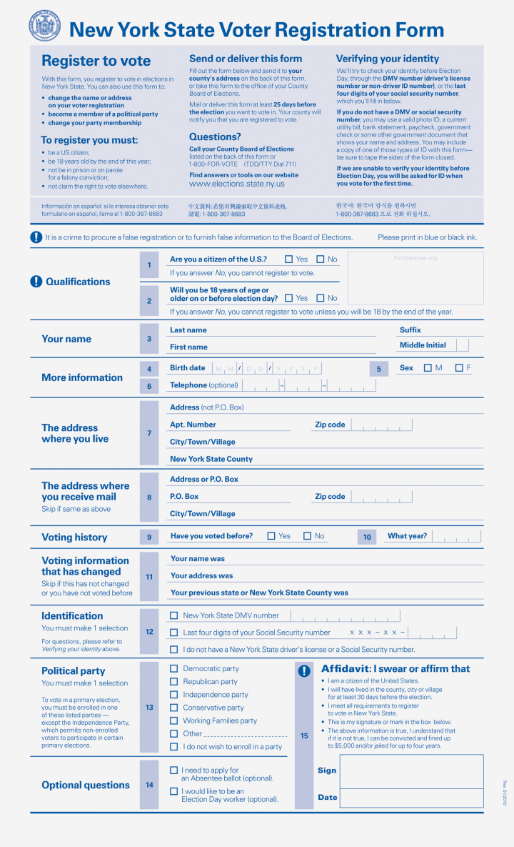 Ny Dmv Registration Form >> One Million Ny Ers Registered To Vote Via Dmv Site Finger