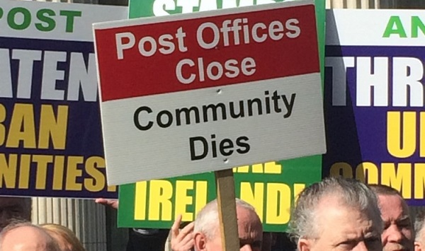Waterford Postmaster says the closure of post offices will kill government plans for rural Ireland.