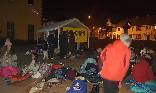 Over a hundred people braved the elements last night for the 'Big Deise Sleep Out'