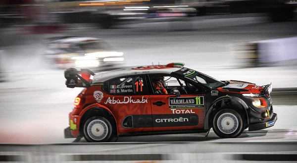 Craig Breen in action on Day 2 of WRC Rally Sweden