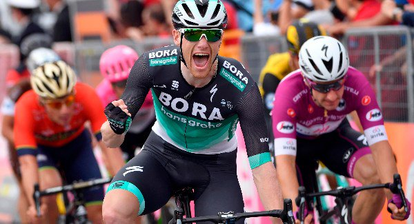 Sam Bennett finishes second on Stage 13 of the Giro d'Italia