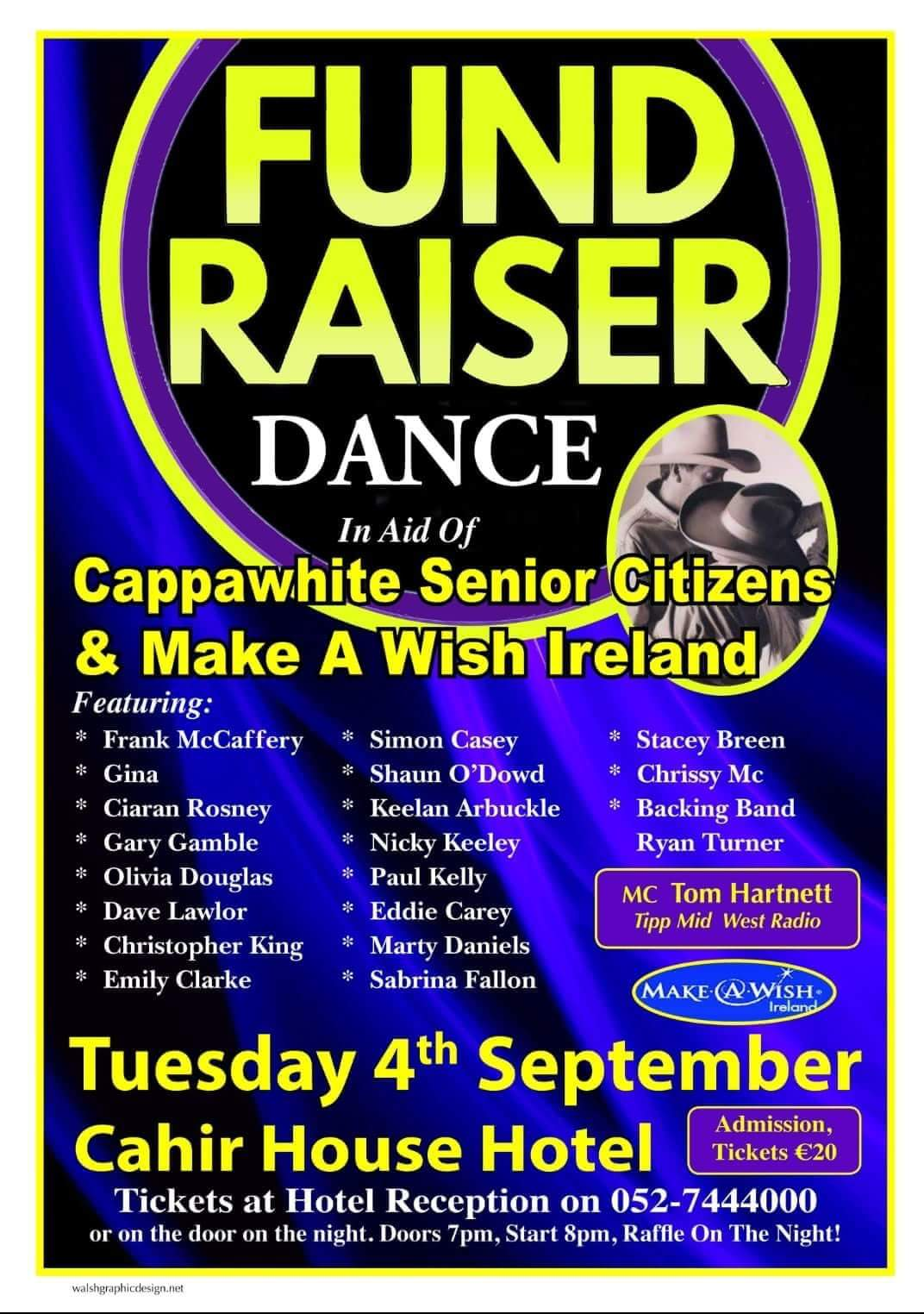 Fundraiser dance in aid of Cappawhite Senior Citizens & Make a Wish Ireland Sept 4th