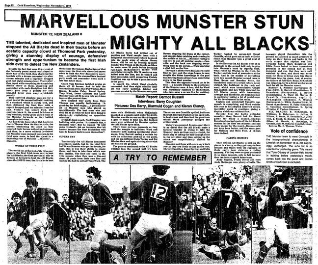 Read the original 1978 'Cork Examiner' Match Report: MARVELLOUS MUNSTER STUN MIGHTY ALL BLACKS