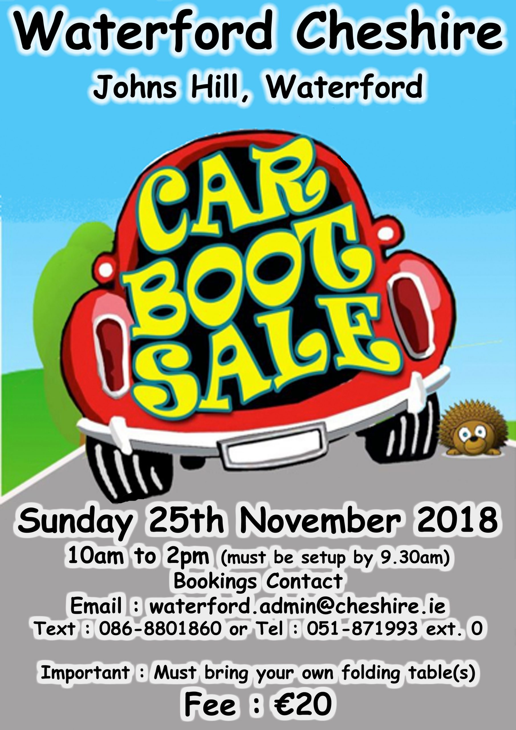 Waterford Cheshire's Car Boot Sale - Sunday November 25th