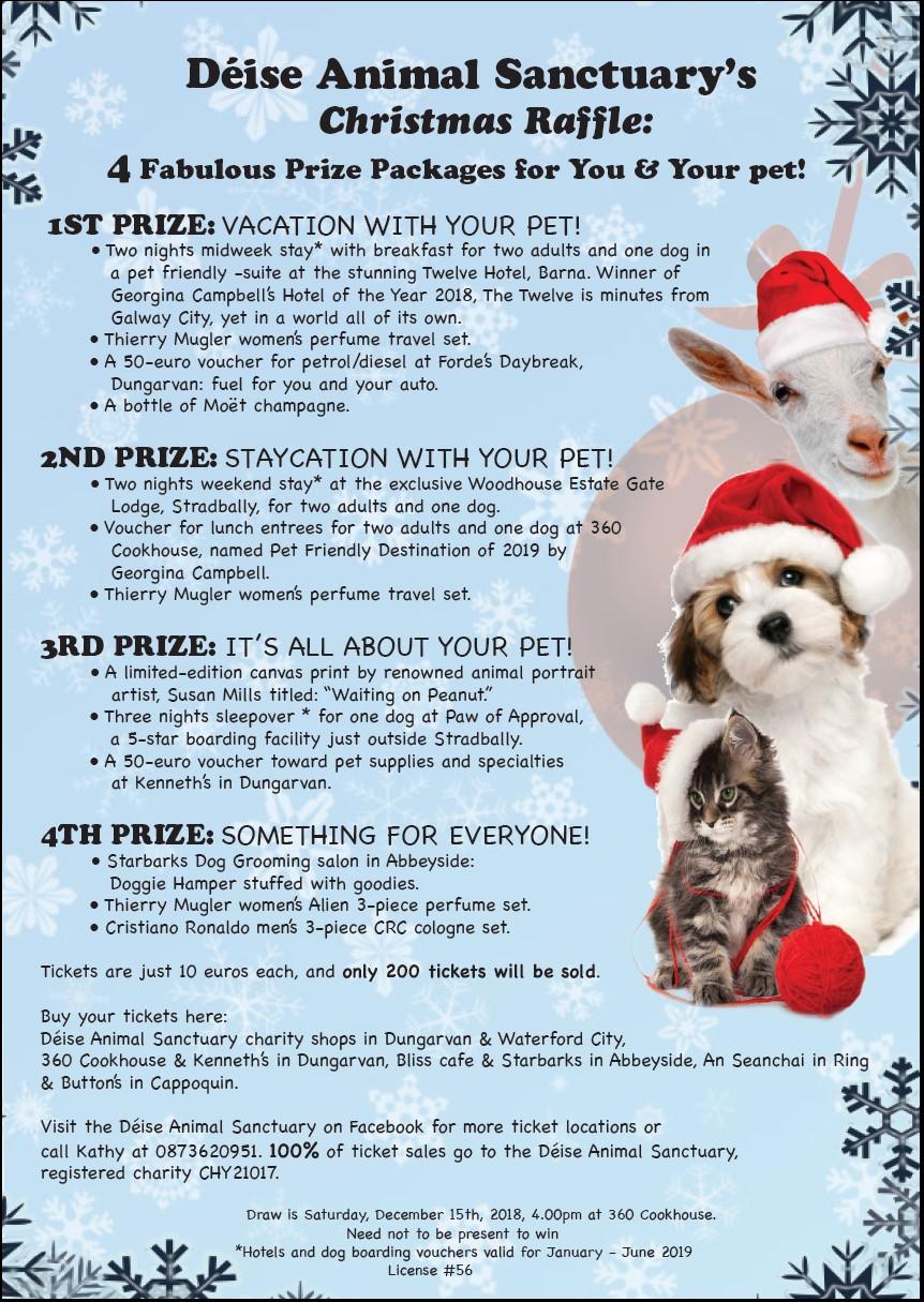 Deise Animal Sanctuary Christmas Raffle - Saturday December 15th