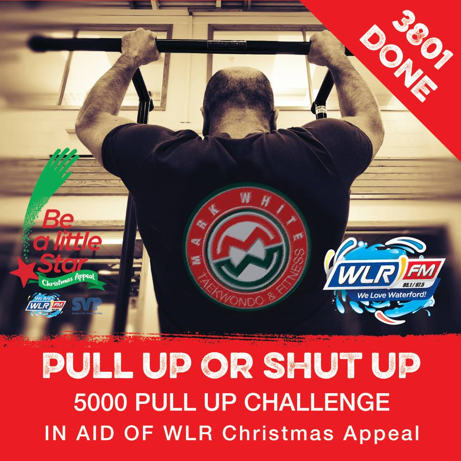 Mark White complete his 5,000 pull up challenge for the WLR Christmas Appeal