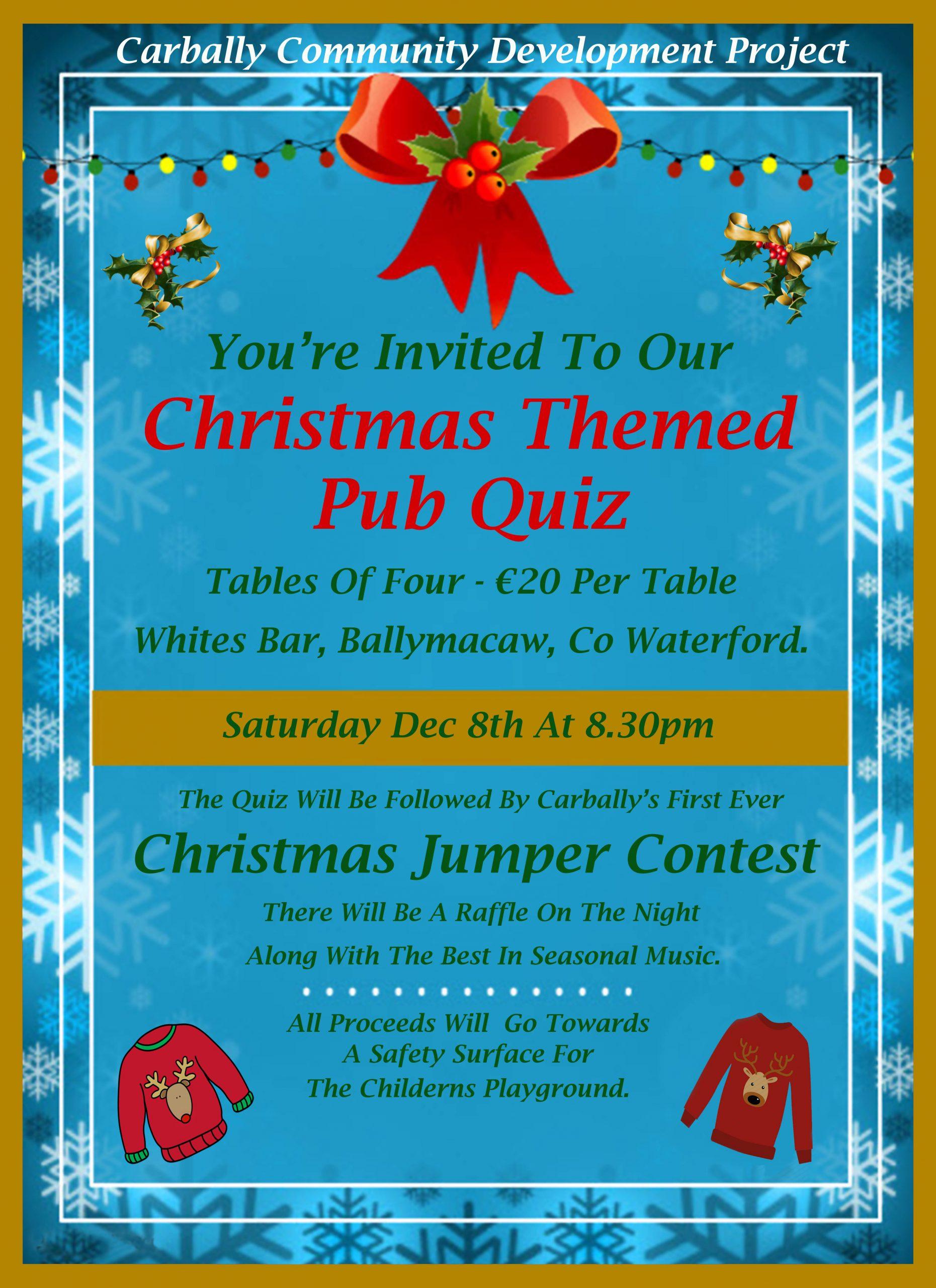 Carbally Community Development Project Pub Quiz- Saturday December 8th