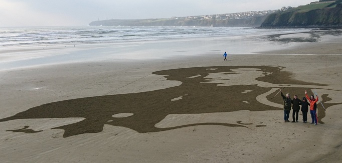 Waterford soldier remembered with huge sand art on Tramore Beach