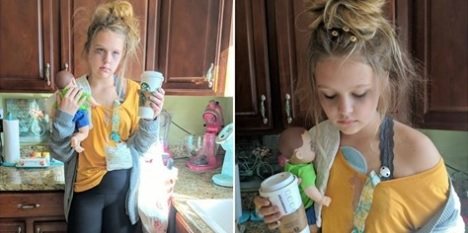 """Kid dresses up as """"tired mom"""" for Halloween"""