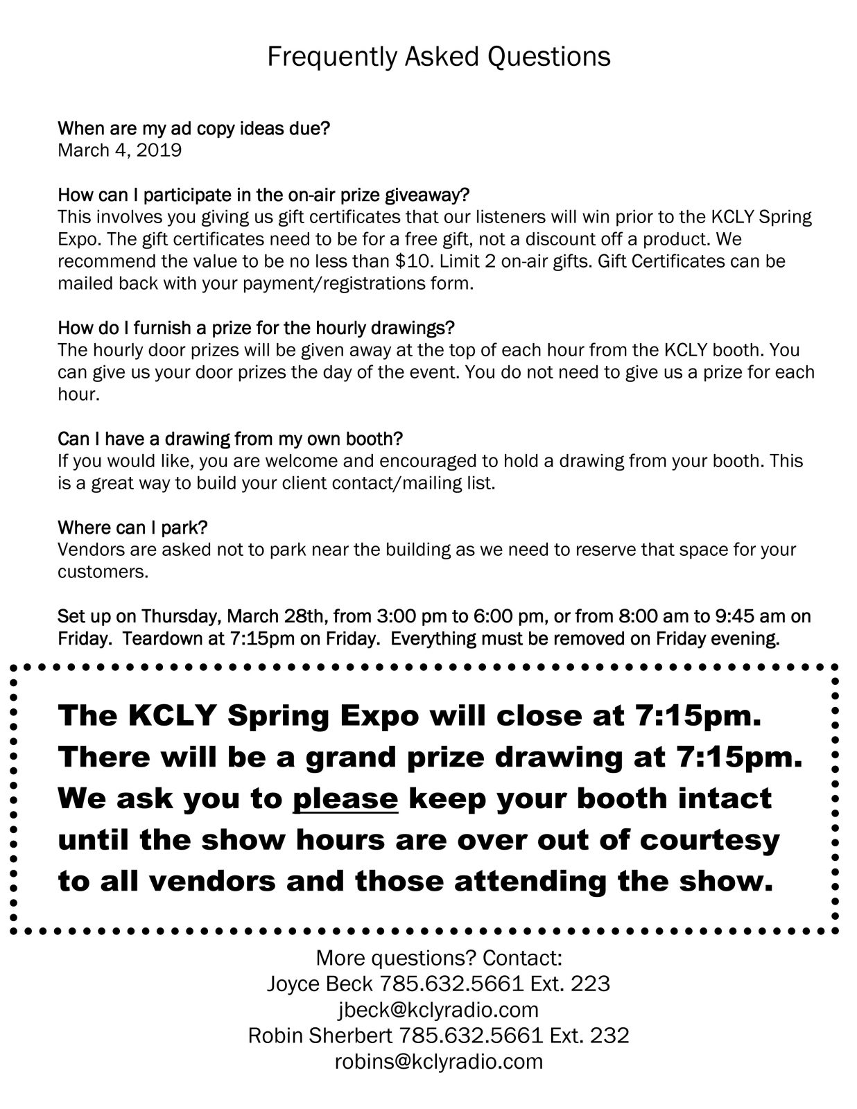 Spring Expo FAQ | KCLY Radio
