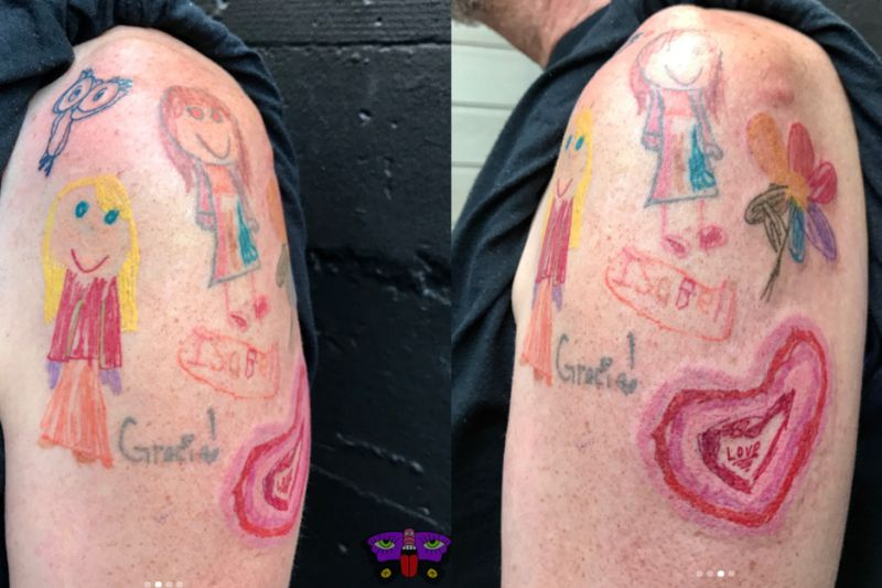Dad Gets Tattoos of His Daughter's Artwork
