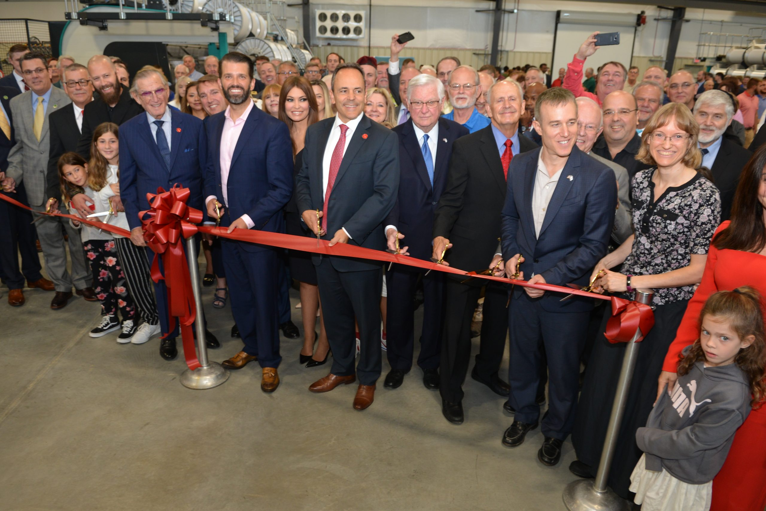 Bevin, Rogers, and Trump Jr  cut ribbon on 350-Job Fibrotex