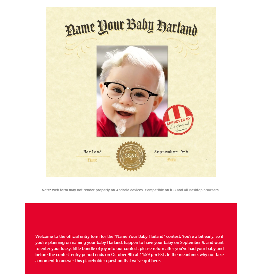 Name Your Baby Harland and You Might Win $11,000 From KFC