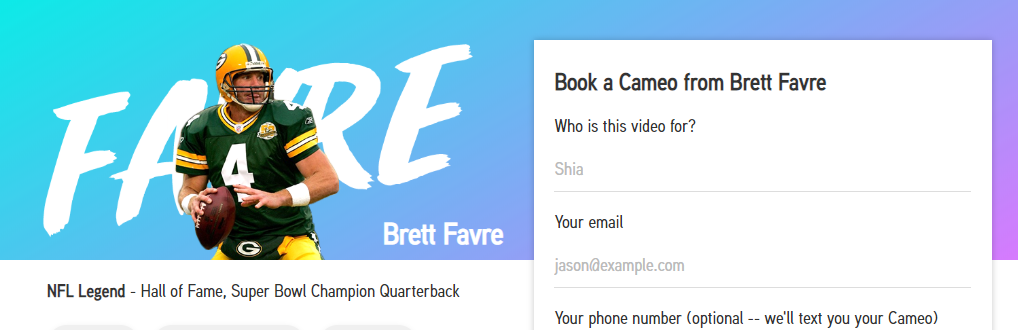 Book Personalized Video Shout Out With Brett Favre and More