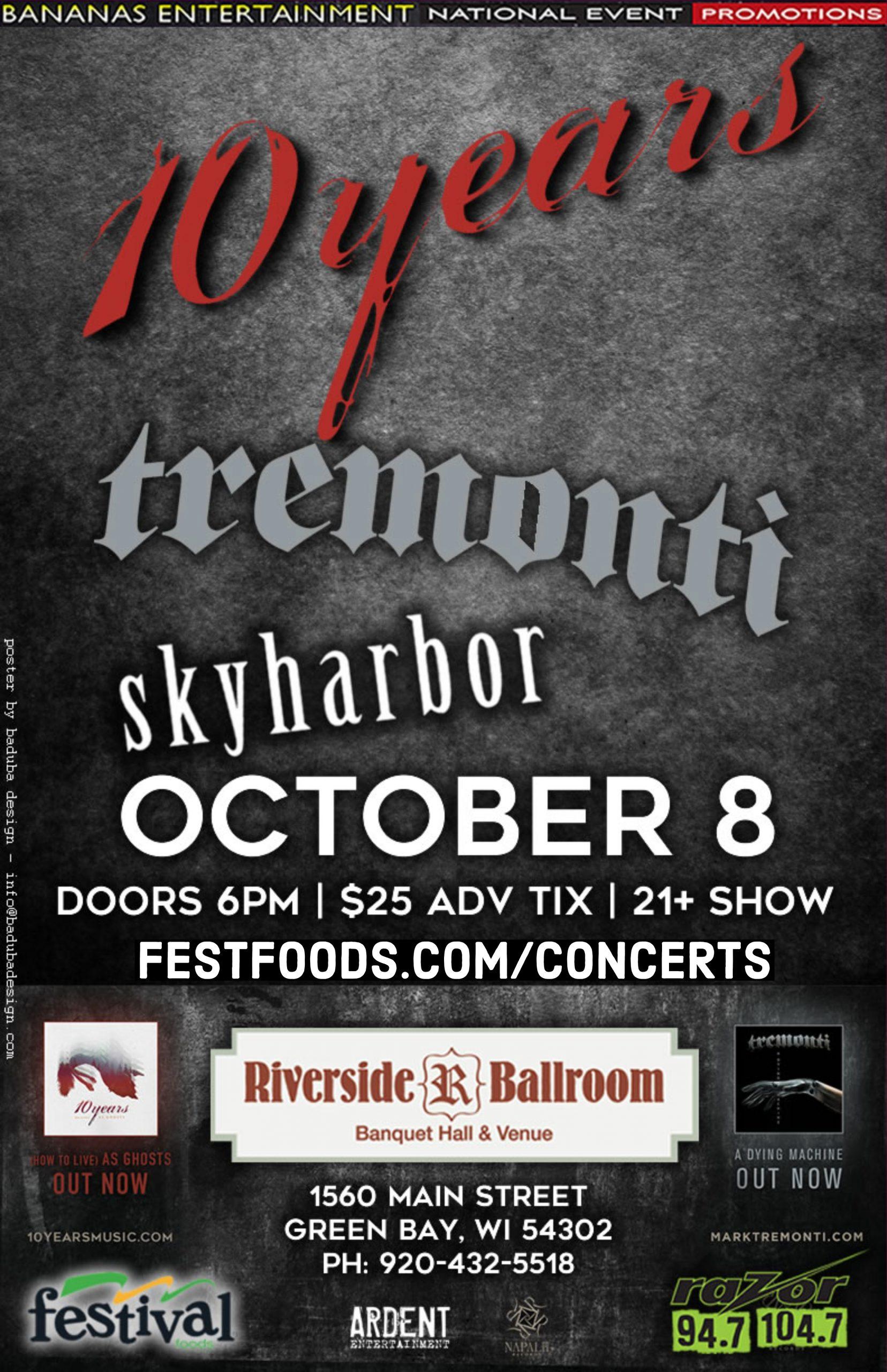 CONTEST: 10 Years|Tremonti|Skyharbor Riverside Ballroom 10.08.18