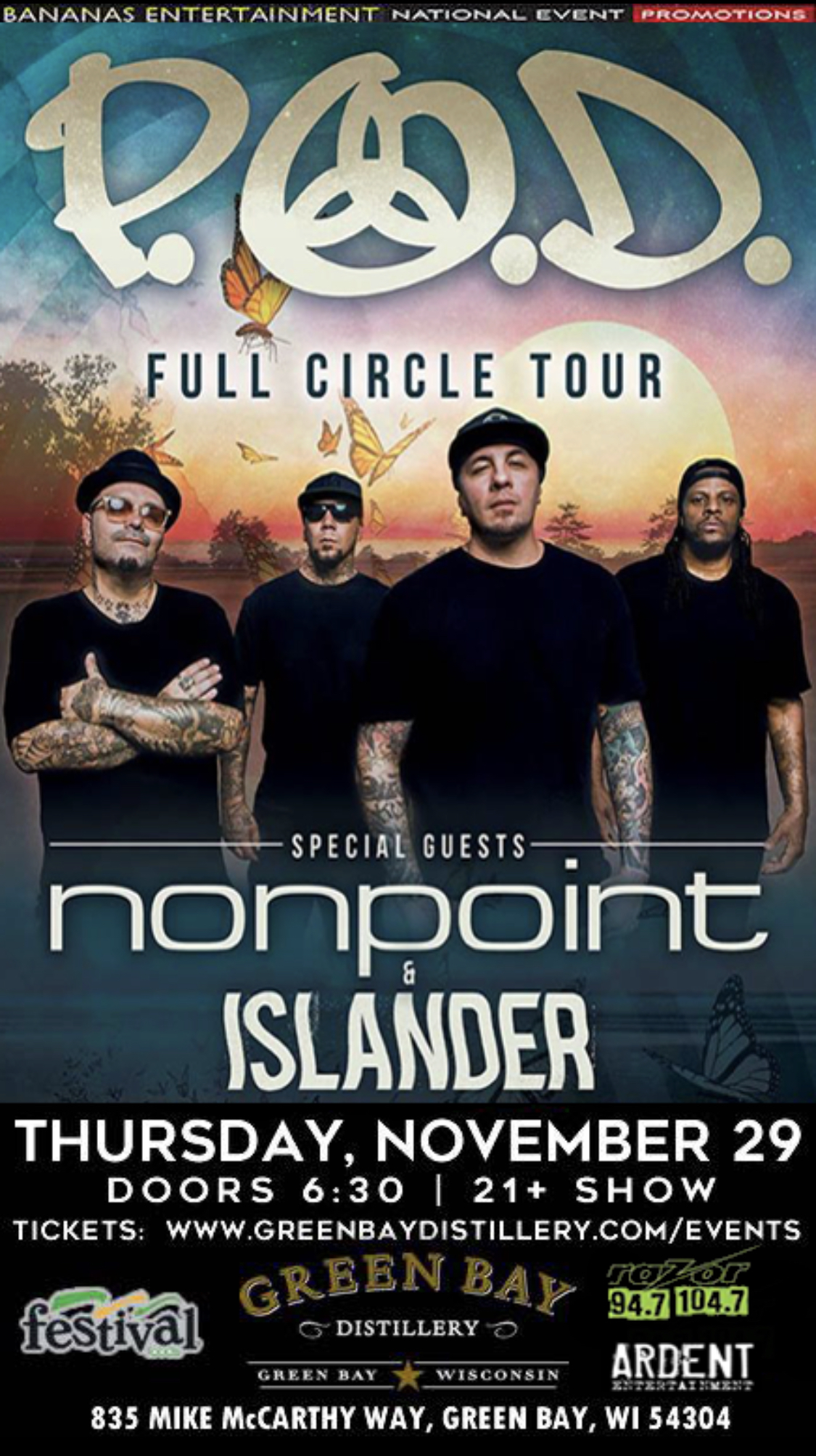 CONTEST: P.O.D. and Nonpoint | Green Bay Distillery