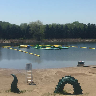 Inflatable water playground opening in Plamann Park