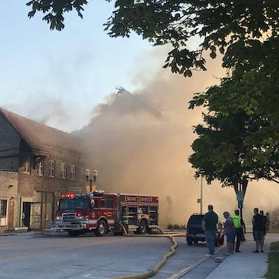Building on fire in downtown Menasha