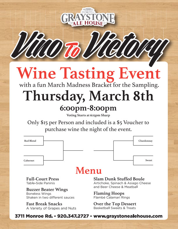 Win a pair of tickets to Graystone Ale House's Vino to Victory Wine Event!