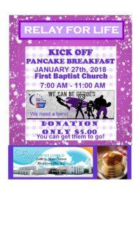 Relay for Life pancake breakfast Saturday